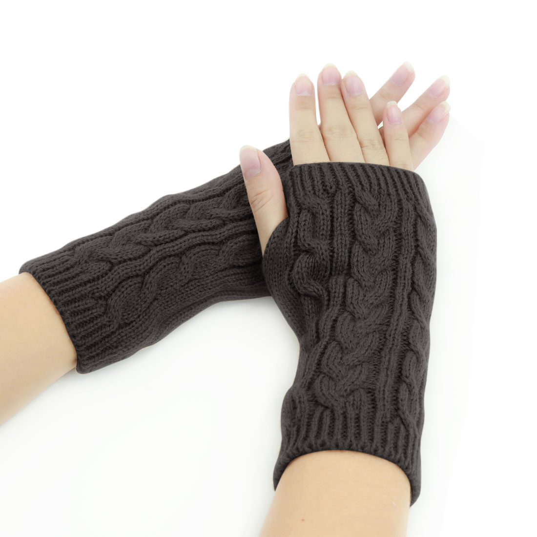 Tasharina Unisex Thumbhole Fingerless Cable Knit Knitted Gloves Gray