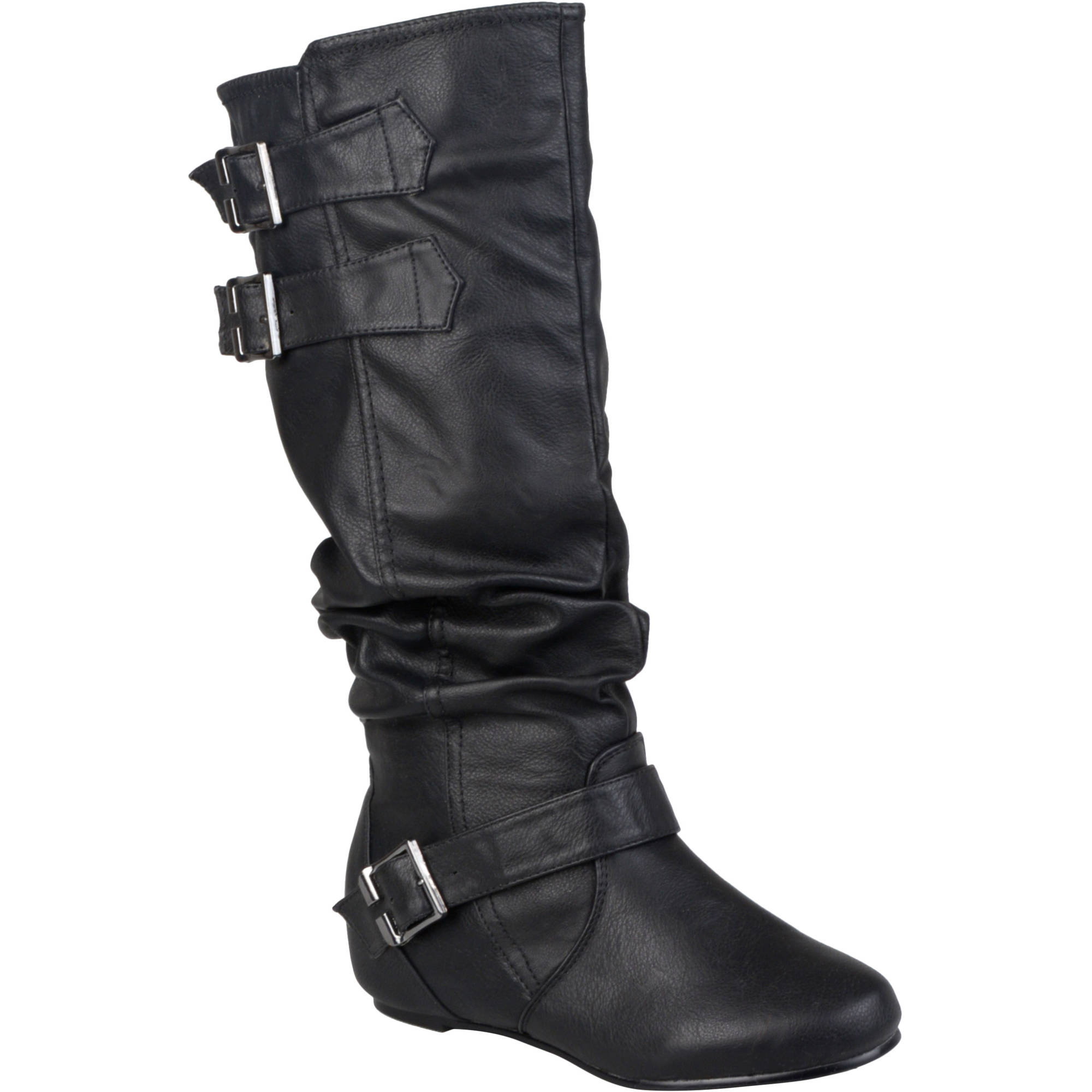 Brinley Co Women's Round Toe Buckle Detail Boots