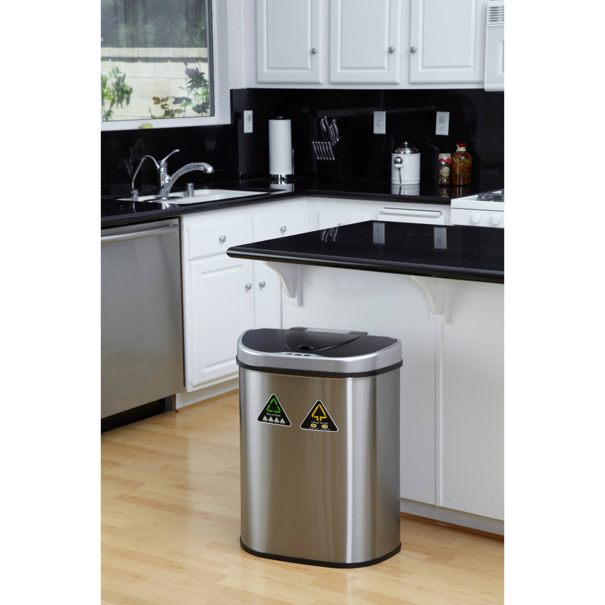 Nine Stars 18.5-Gallon Motion Sensor Recycle Unit and Trash Can, Stainless Steel