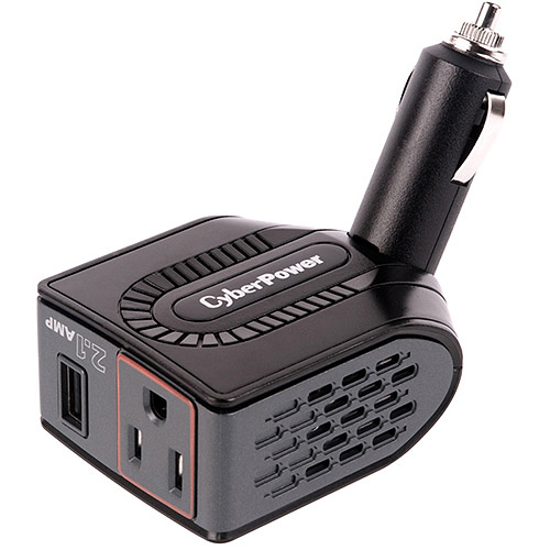 CyberPower CPS150BURC1 150W Swivel Head Mobile Power Inverter with USB Charging Port and AC Outlet, Black
