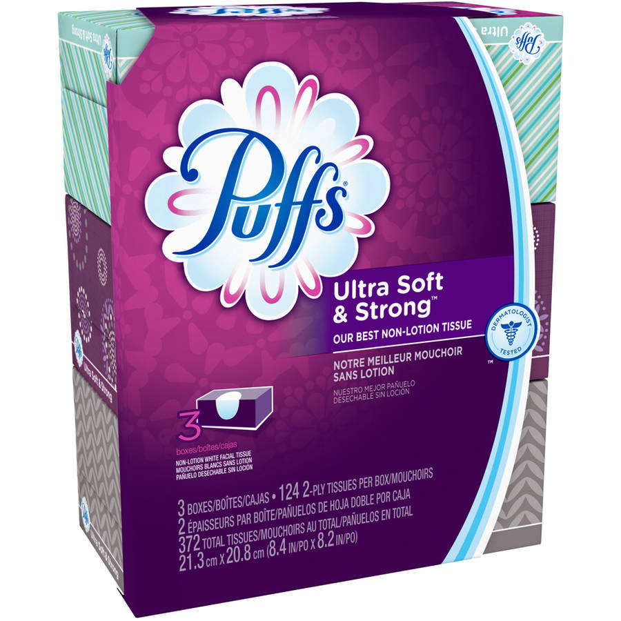Puffs Ultra Soft & Strong Facial Tissues, 124 sheets, 3 count