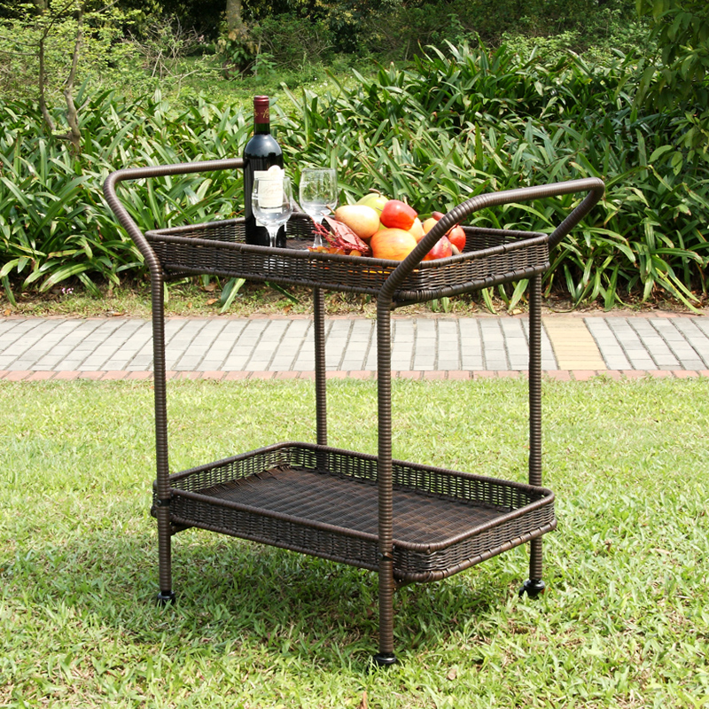 "32"" Espresso Brown Resin Wicker Outdoor Patio Garden Serving Cart with Wheels"