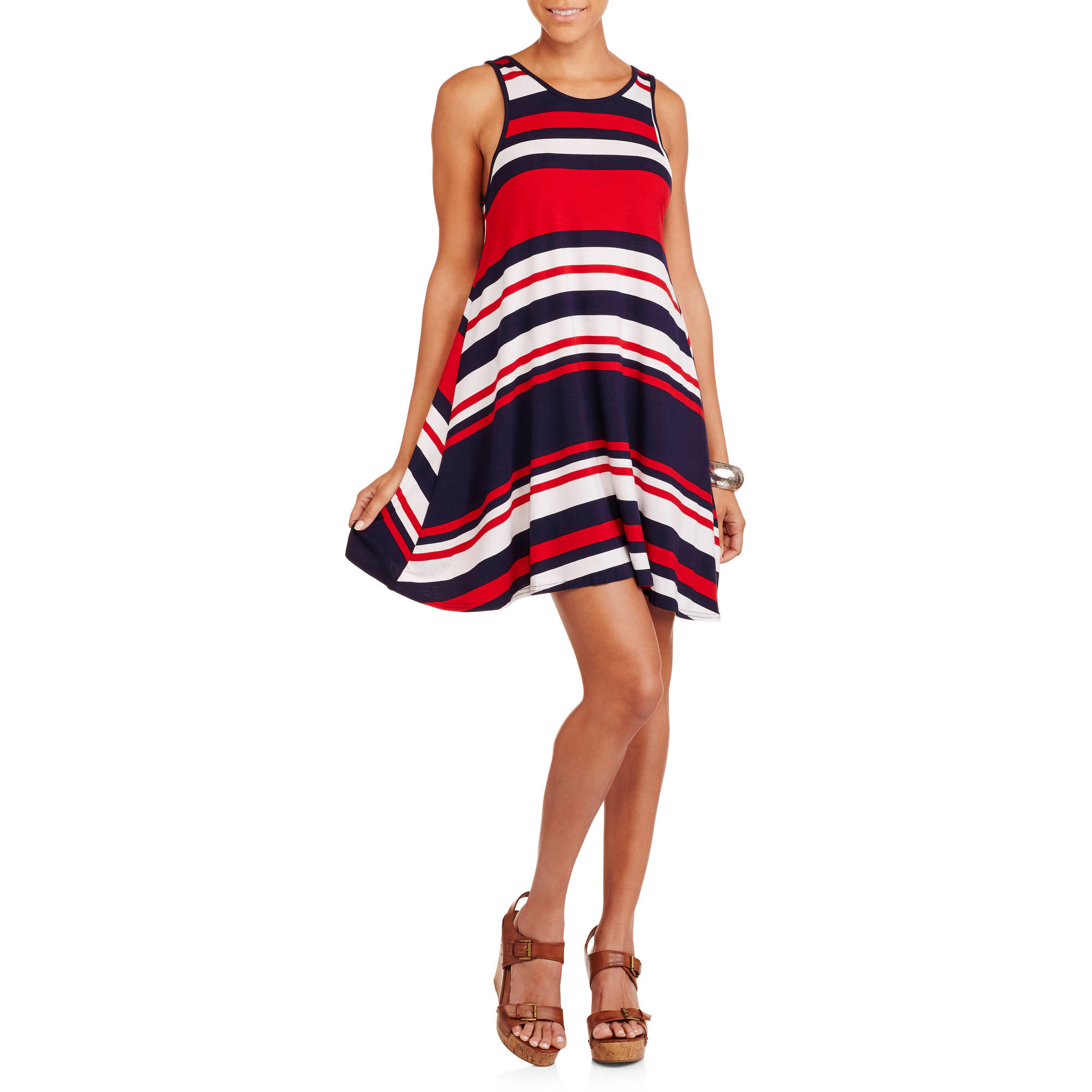 Juniors Striped Swing Tank Dress