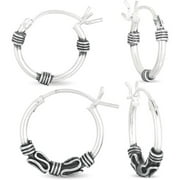Sterling Silver 14 & 16MM Bali Hoop Earrings Set