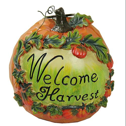 "7"" Welcome Harvest Thanksgiving Pumpkin Table Top Decoration"