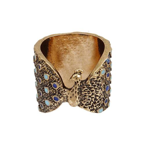 BMC Gold Color Metal Blue Teal Plumage Peacock Design Chunky Fashion Ring-Size 7