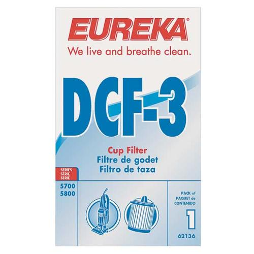 ELECTROLUX 62136A Filter, Dust Cup Filter, 6 In. L