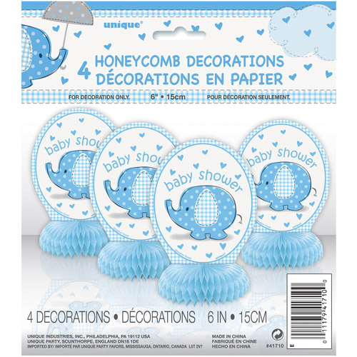 Mini Honeycomb Blue Elephant Baby Shower Decorations, 4pk