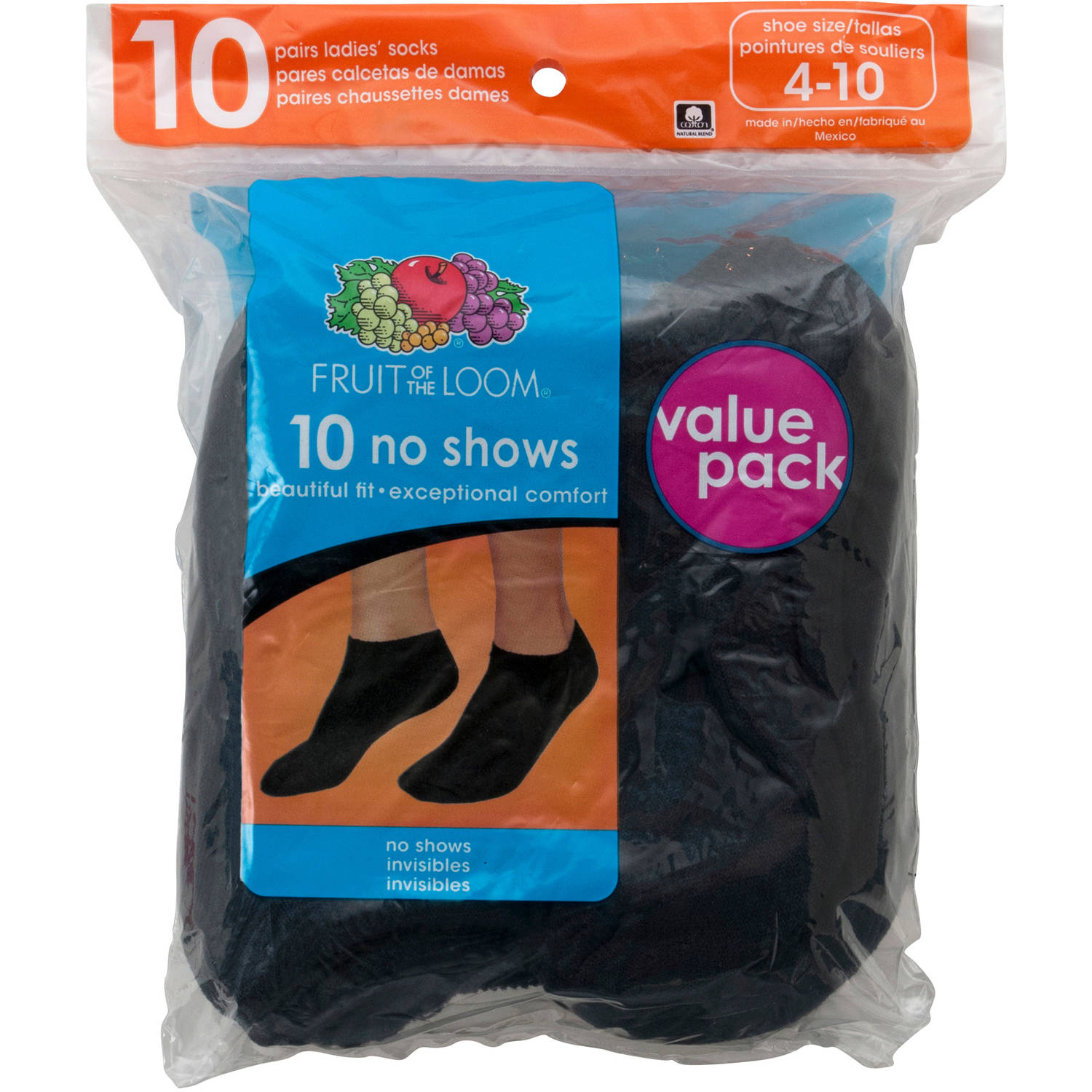 Fruit of the Loom Women's No Show Socks, 10 Pack