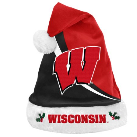 Forever Collectibles NCAA Swoop Logo Santa Hat, University of WisconsinBadgers