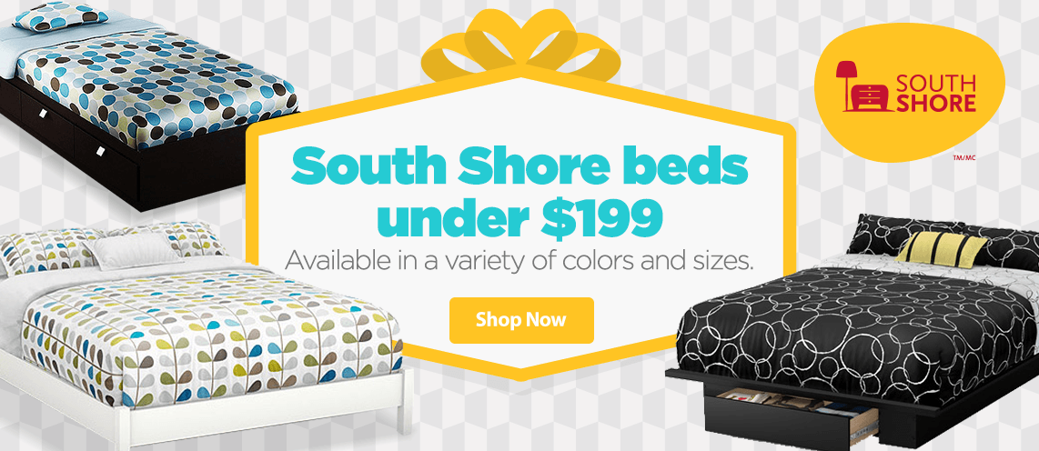 South Shore beds under $199. Available in a variety of colors and sizes