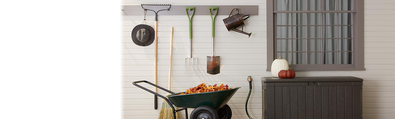 Cozy fall home. Outdoor ten dollars and up. Shop storage, garden tools, and more.