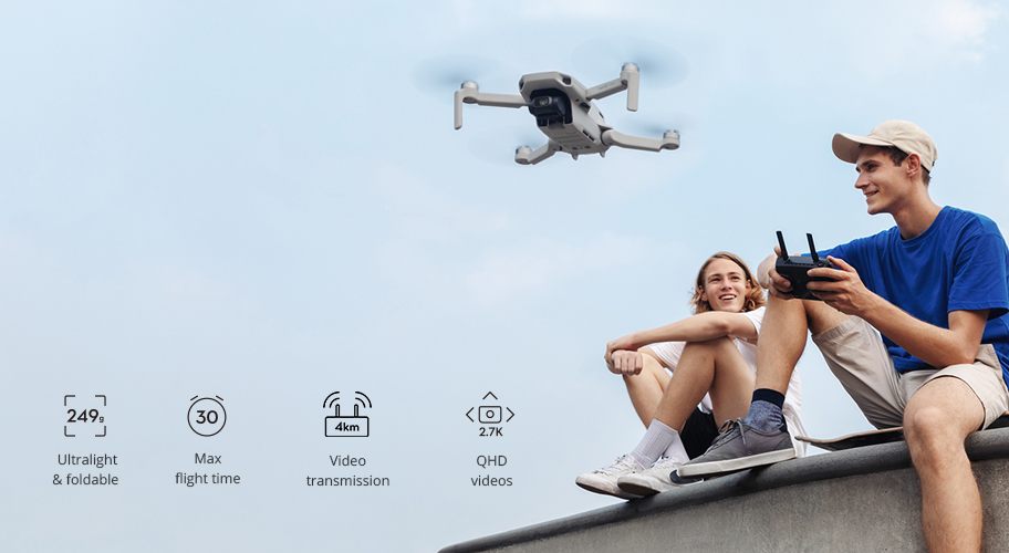 Fly as you are. The compact yet powerful DJI Mavic Mini is the perfect creative companion, capturing your moments in 12 MP aerial photos that effortlessly elevate the ordinary. No FAA registration required, open your sky with this everyday flycam.
