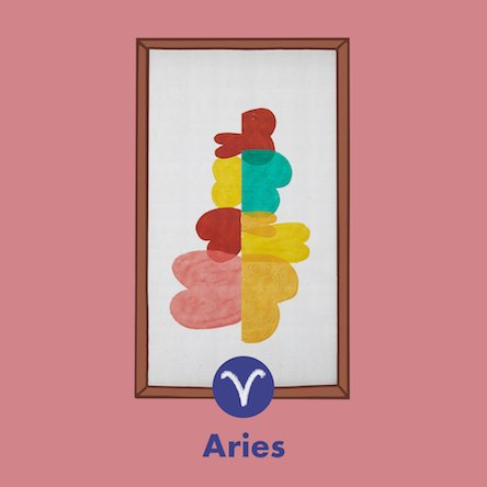 An illustration of the Ojai orange abstract print with wooden frame by Drew Barrymore Flower Home representing the Aries zodiac sign. Links to where to shop the Drew Barrymore Flower Home Ojai Abstract print.