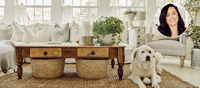 A headshot cozy farmhouse home decor expert Liz Marie Galvan author of the White Cottage.