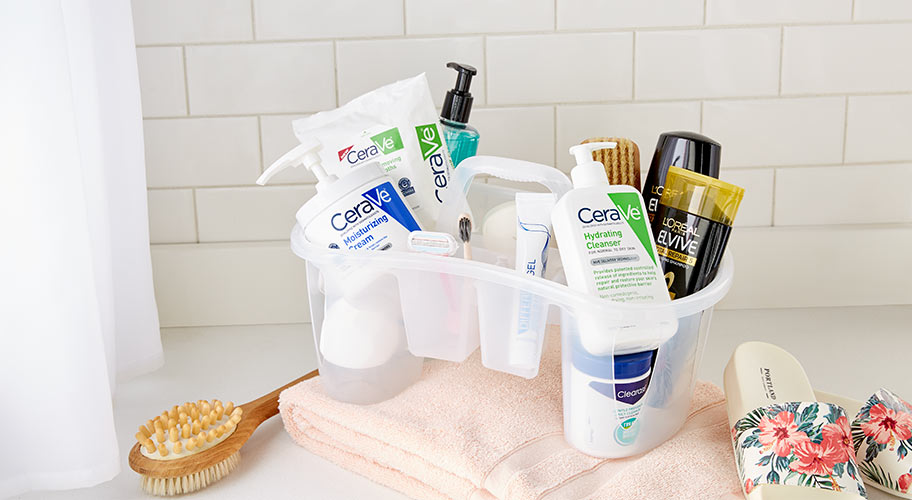 Pretty organized. Take the stress out of communal bathrooms by storing all your toiletries in a convenient caddy.
