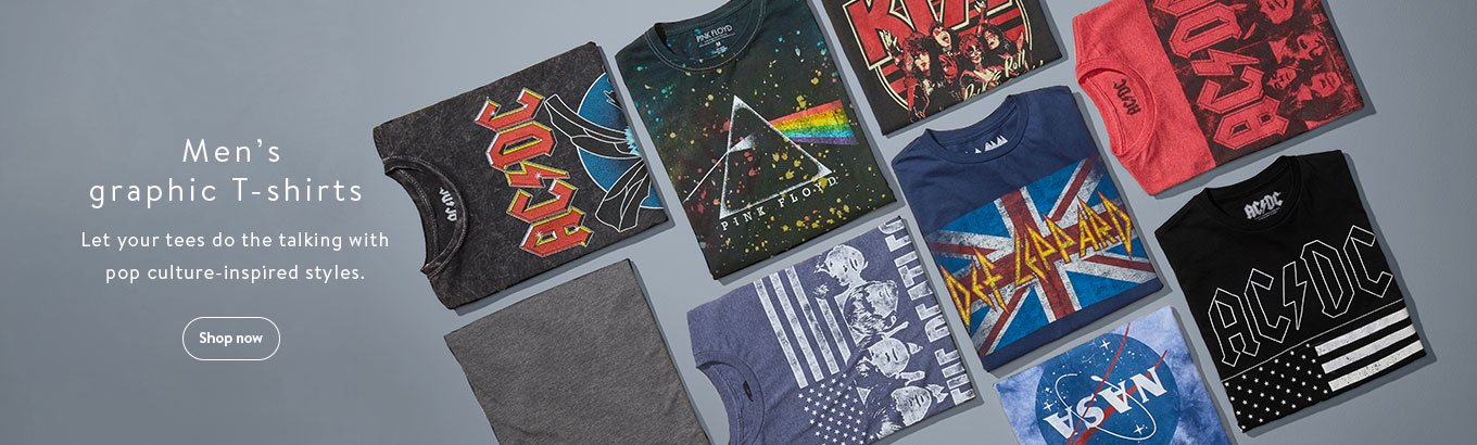 Men's graphic T-shirts. Let your tees do the talking with pop culture-inspired styles. Shop now.