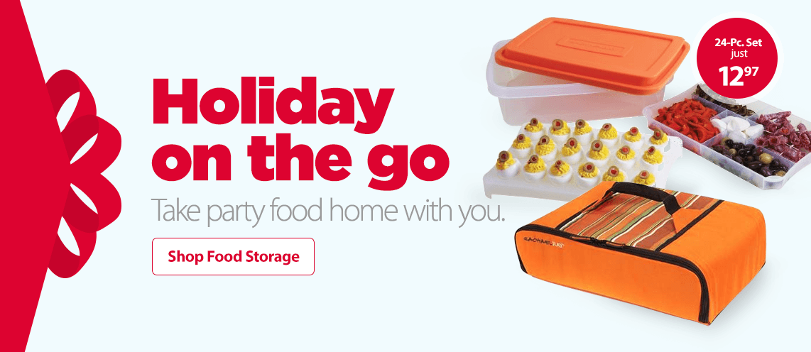 Holiday on the go. Take party food home with you.