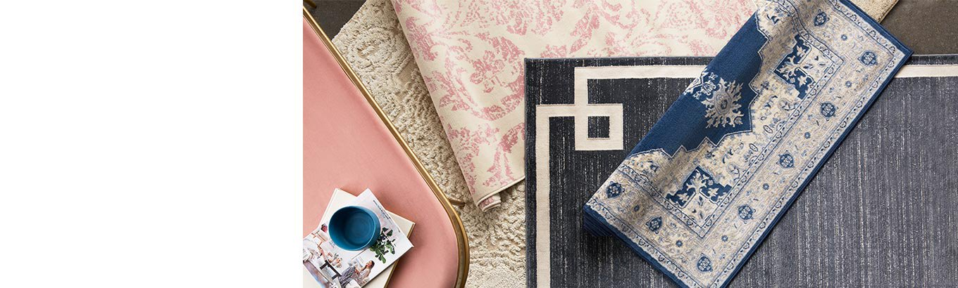 Shop rugs starting at seventeen dollars. Trending styles in spring hues, geometrics, and more.