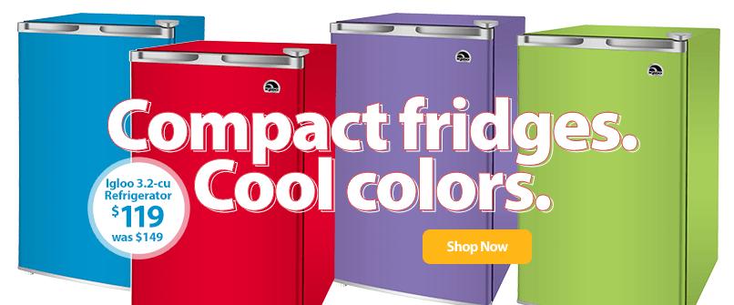 Compact fridges. Cool colors.