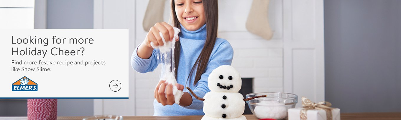 Looking for more Holiday Cheer? Find more festive recipe and projects like Snow Slime.