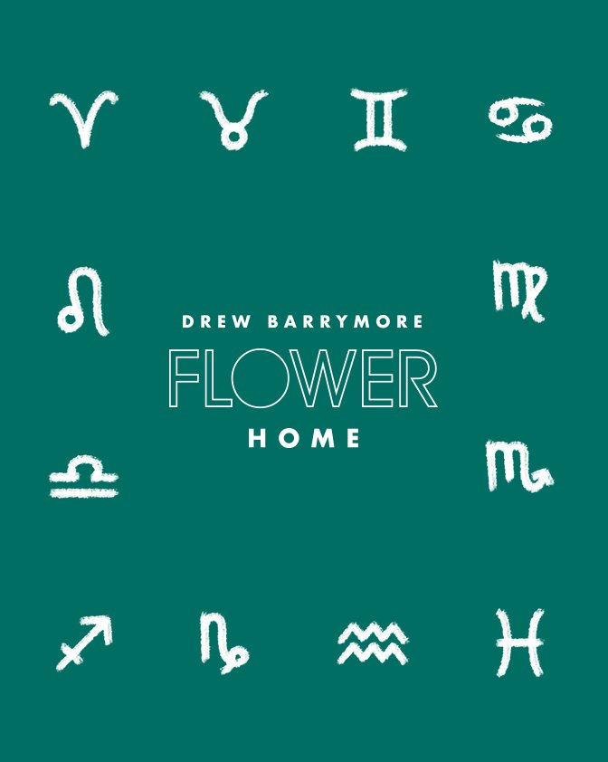 An illustration of Drew Barrymore Flower Home furniture with Zodiac Signs. Links to where to shop Drew Barrymore Flower Home furniture and decor.