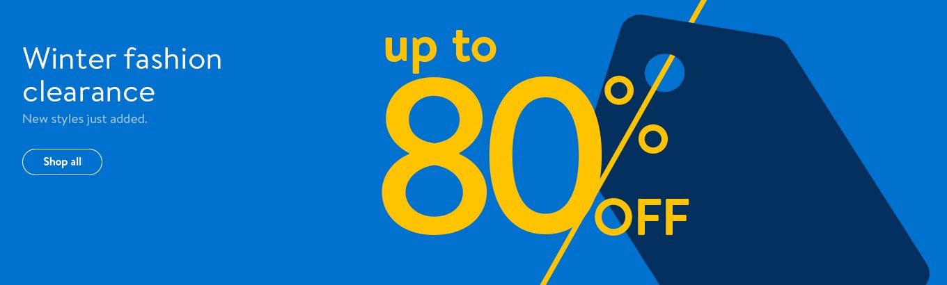 Winter fashion clearance. Up to 80 percent off. New styles just added. Shop all.