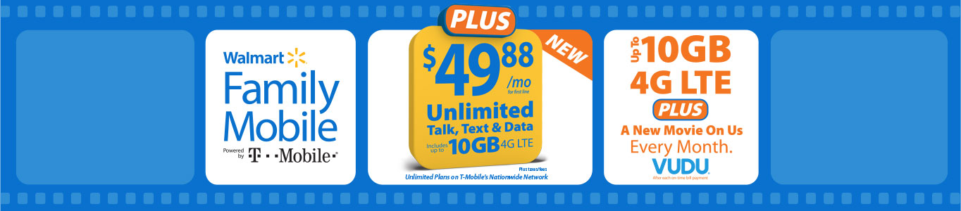 Walmart Family Mobile + 1 Free Vudu Movie per month