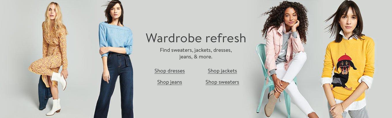 Wardrobe refresh. Find sweaters, jackets, dresses, jeans, and more. Shop sweaters. Shop jackets. Shop dresses. Shop jeans.