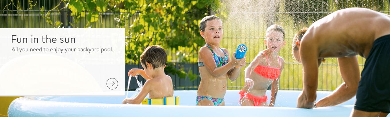 Fun in the sun. All you need to enjoy your backyard pool.