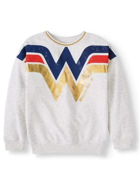 Wonder Woman Metallic Trim Fleece Sweatshirt (Little Girls & Big Girls)