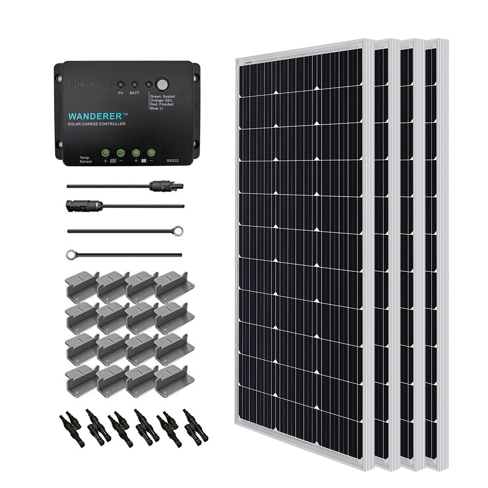 Renogy 100 Watts 12 Volts Monocrystalline Solar RV Kit Off-Grid Kit with 30A PWM LCD Charge Controller MC4 Connectors// Solar Cables //Cable Entry housing Mounting Brackets