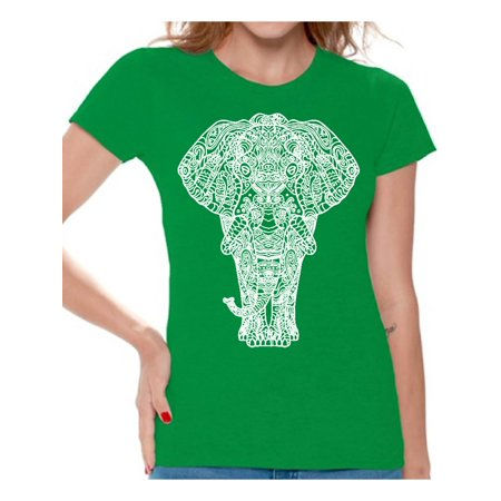 Awkward Styles Elephant T-Shirt for Women Patterned Shirts for Ladies Women Fashion Collection Tracery Tshirt for Mom Indian Pattern T-Shirt for Her Gifts for Wife Elephant Shirts Animal T-Shirt ()