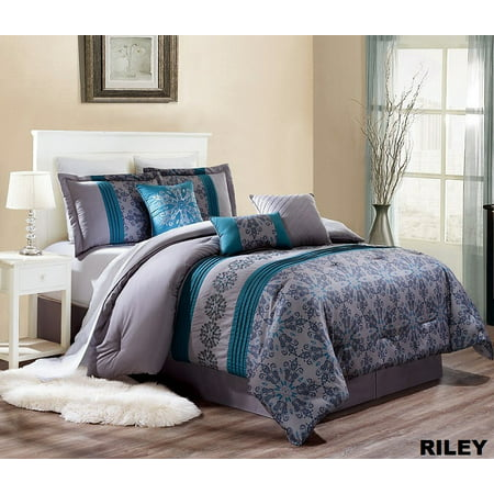 Unique Home Riley Comforter 7 Piece Bed Set Ruffled Bed In