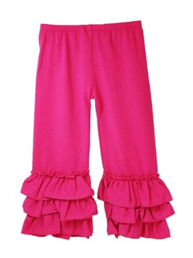 Girls Hot Pink Triple Tier Ruffle Cuffed Cotton Spandex Pants 12M-7