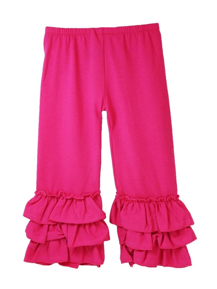 Girls Hot Pink Triple Tier Ruffle Cuffed Cotton Spandex Pants 12M-7