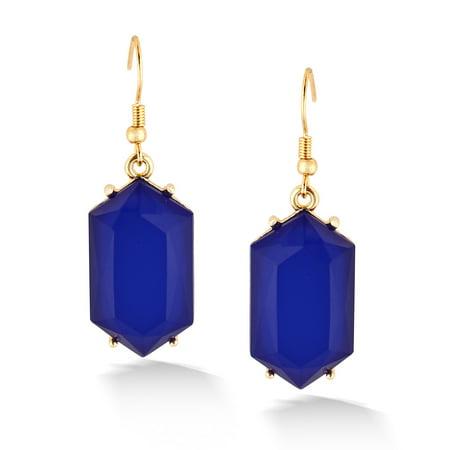 TAZZA WOMEN'S BLUE CRYSTAL DROP  EARRINGS