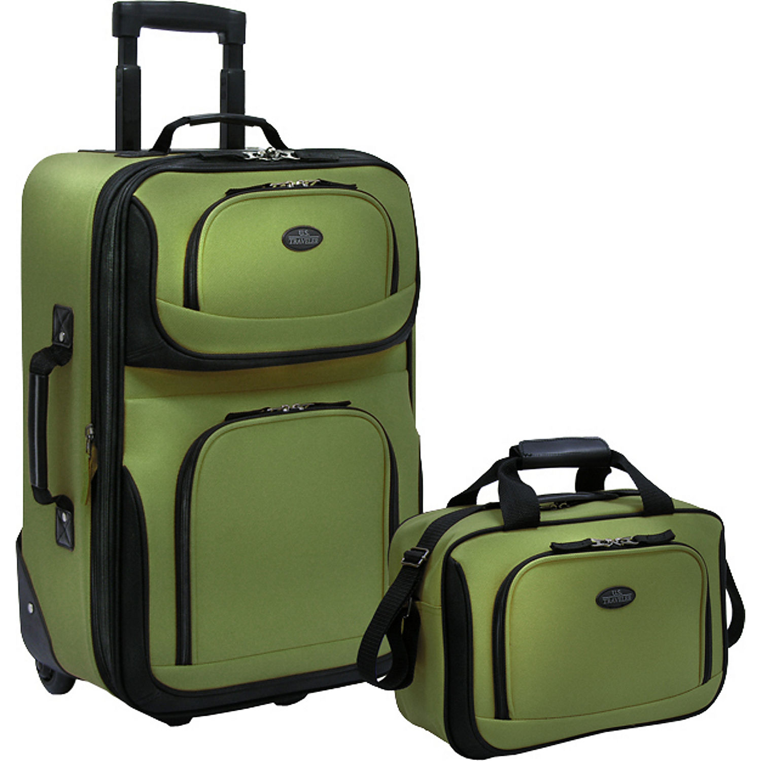 U.S. Traveler Rio Two Piece Expandable Carry-On Luggage Set, Green