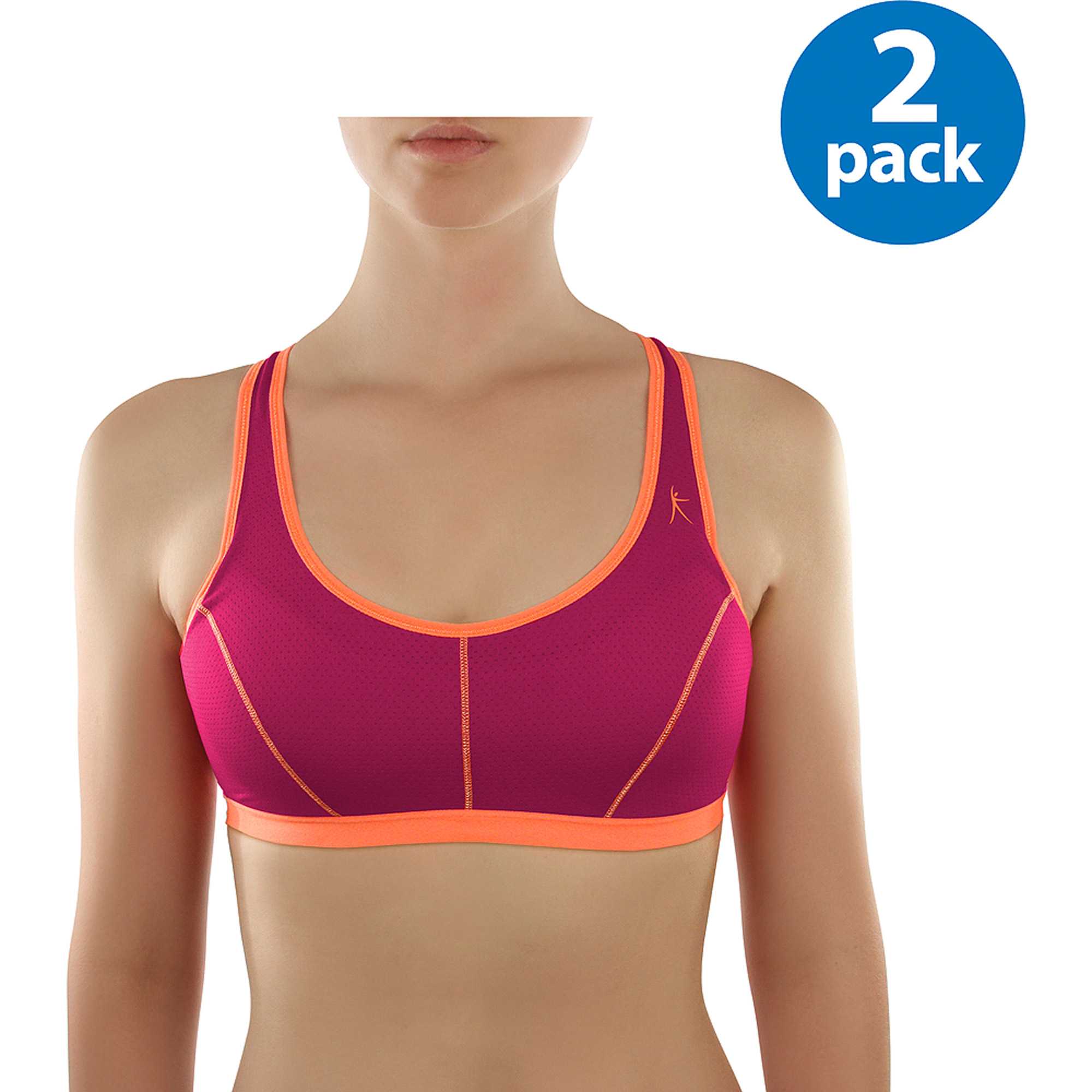 Dankskin Now Women's Foam Sport Bras 2-Pack