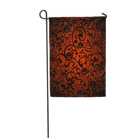 KDAGR Orange Pattern Halloween Vintage Silhouette Bat Garden Flag Decorative Flag House Banner 28x40 - Halloween Silhouette Patterns