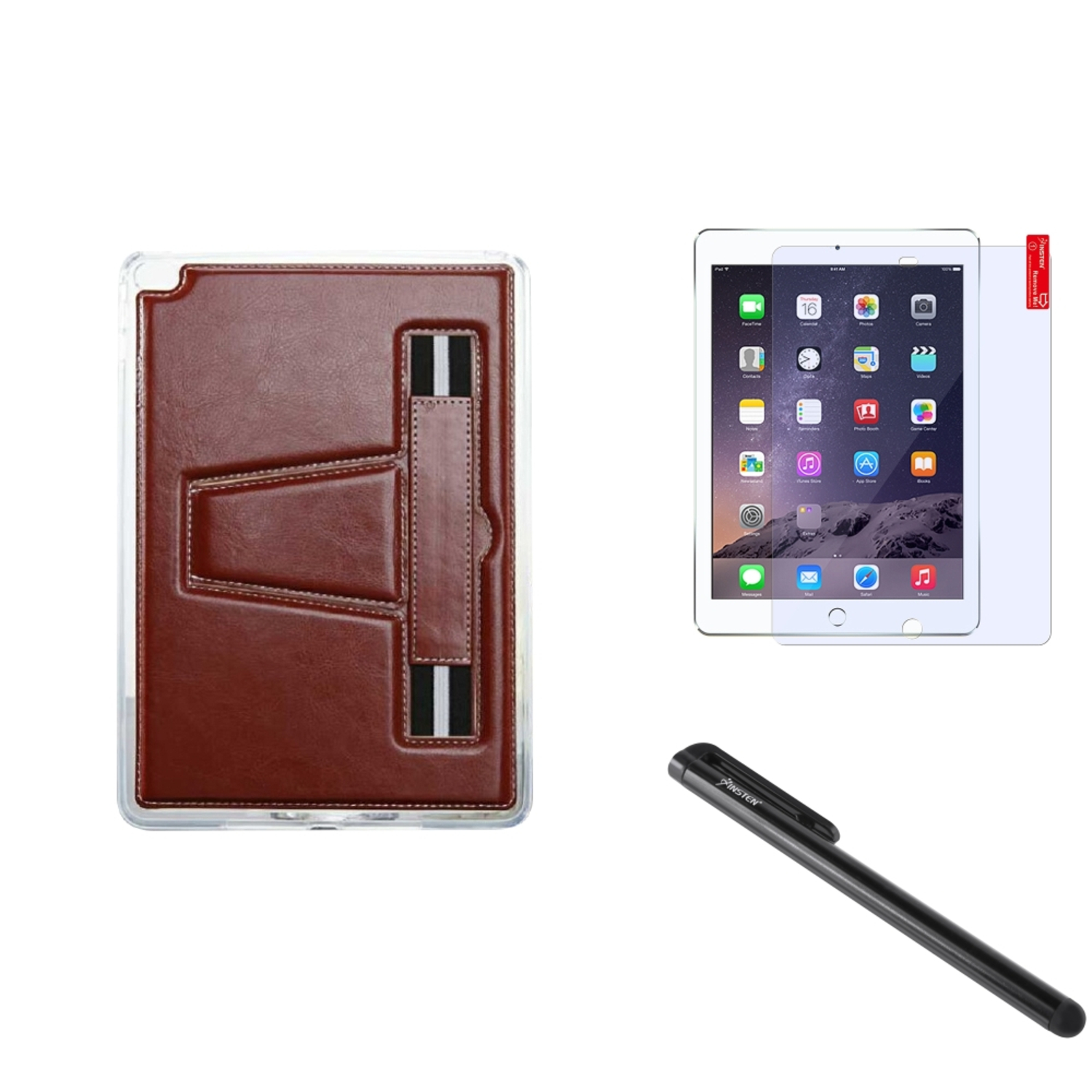 Insten For iPad Air 2 TPU Gel Rubber Soft Skin Case Cover w/ Stand+Protector+Pen Brown