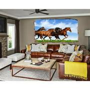 Startonight 3D Mural Wall Art Photo Decor Horses Running Amazing Dual View Surprise Medium Wall Mural Wallpaper Animals USA Wall Paper Art Gift 47.24 ?? By 86.61 ??