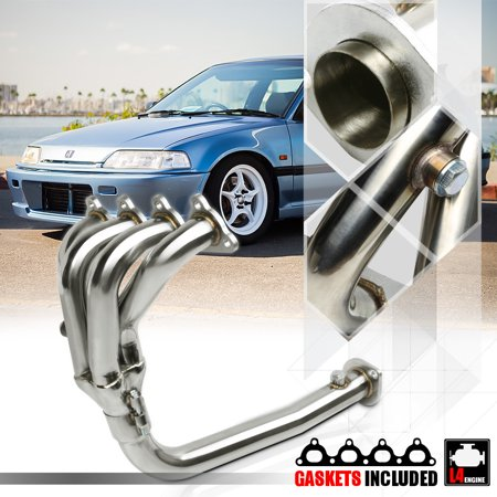 SS 4-1 Exhaust Header Manifold for 88-00 Civic/CRX D-Series D15A/D16A 4Cyl SOHC 89 90 91 92 93 94 95 96 97 98 99 91 Crx Racing Series