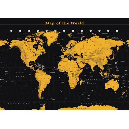 World Map Gold On Black Giant Poster - 55x39 on small world map poster, ikea world map poster, giant globe maps, extra large world map poster, world map with countries poster, giant periodic table poster, high resolution world map poster,