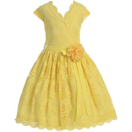 4ec1042bfe Little Girl Cap Sleeve V Neck Flower Border Stretch Lace Corsage Belt  Flower Girl Dress (20JK66S) Yellow 2 - Walmart.com