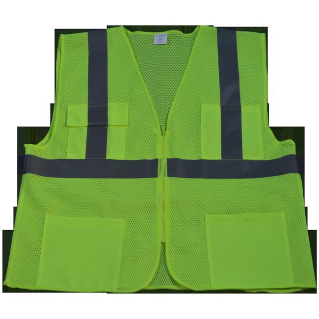 LVM24-2X-3X Safety Vest Ansi Class 2 All Mesh 4-Pocket, Lime - 2X & 3X
