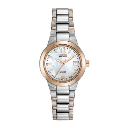 Ladies' Eco Drive Silhouette EW1676-52D Two-Tone Stainless steel Bracelet with Mother-of-Pearl Dial Watch