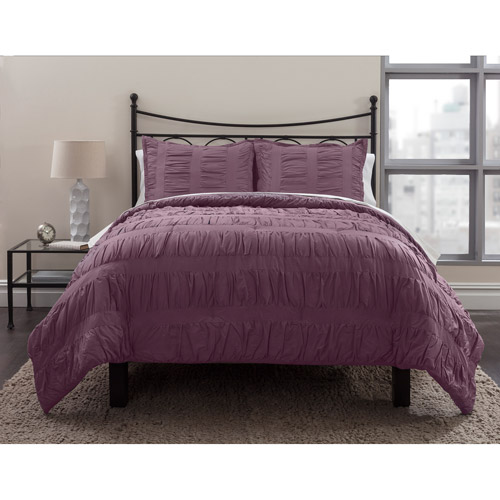 Formula Solid Ruched Bedding Comforter Set