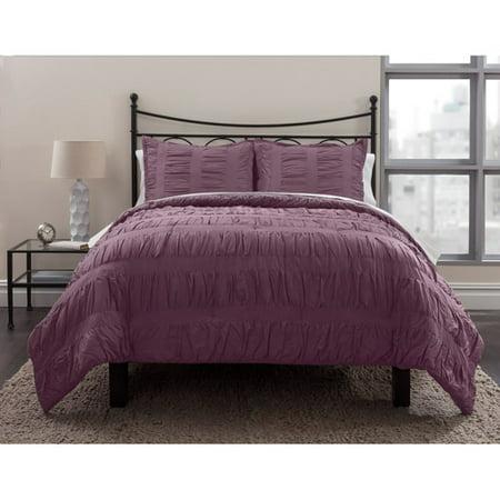 Formula Solid Ruched Bedding Comforter Set Walmart Com