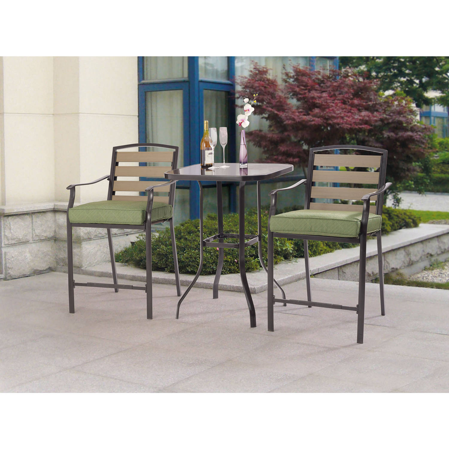 Incroyable Mainstays Oakmont Meadows 3 Piece Bar Height Patio Bistro Set, Seats 2    Walmart.com